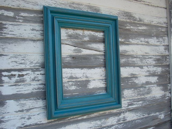 Frame Open Large Wood Painted Distressed Teal Chunky Wall Decor