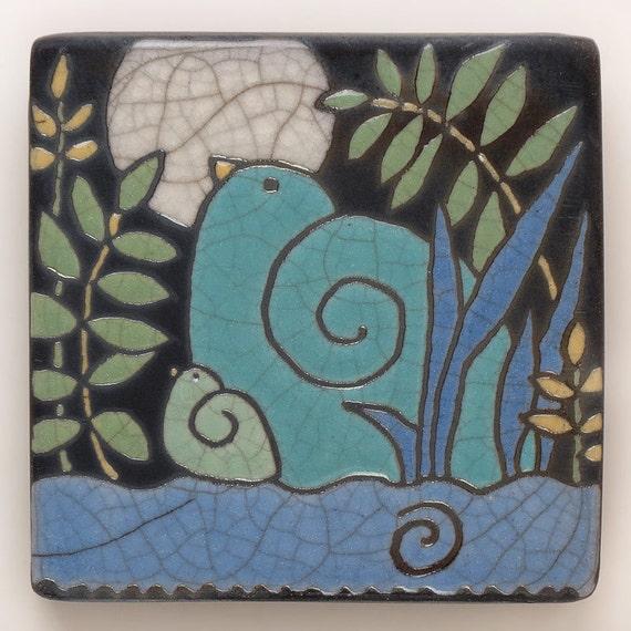 Birds, Mama and Baby Bird,Ceramic tile ,turquoise,green,moon, handmade 4x4 raku fired art tile
