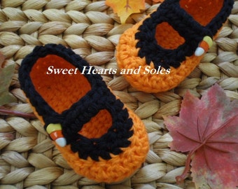 Orange and Black Cotton Candy Corn Halloween Baby Mary Janes 3-6 Months