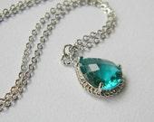 Bridesmaid Necklace - Sea Green Necklace - Silver Filled Necklace - Bridesmaid Gift - Bridal - Simple - Boho