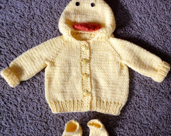 Knitted Duck Hooded Baby Sweater with Duck Feet made to order 0-12 months.