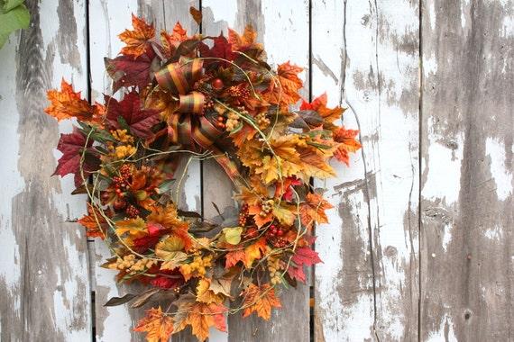 Fall Wreath, Leaves, Berries, Acorns, Plaid Bow