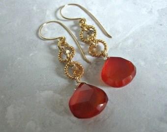 Red Chalcedony Earrings- Smoky Quartz, Hessonite Garnet, Gold Filled