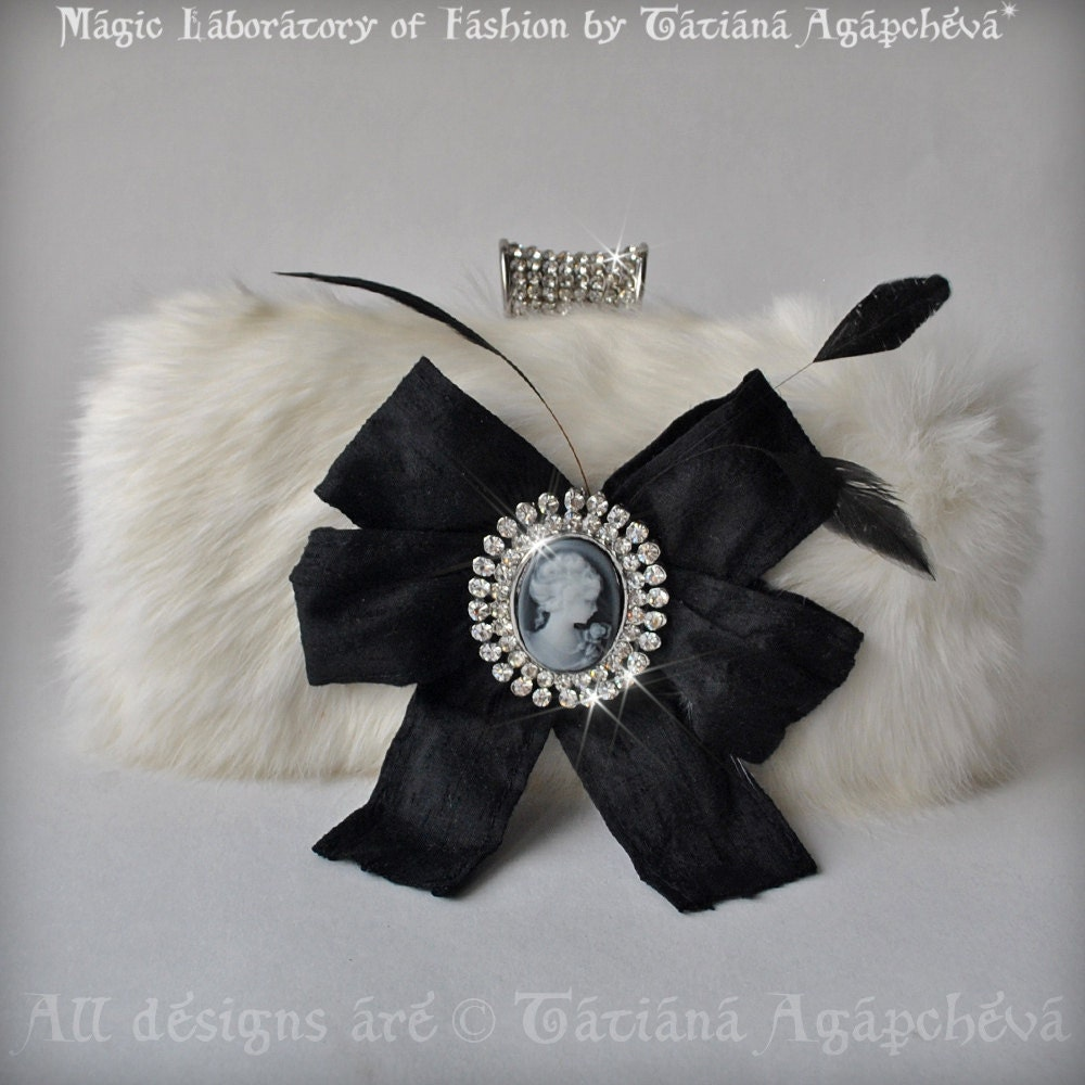 BOX CLUTCH Purse Bridal Real Rabbit Fur, Rhinestones Cameo, Leather lined, White Black, Chain 2012 TianaCHE