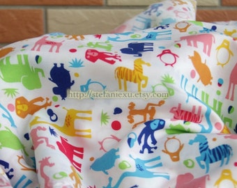 SALE CLEARANCE-1 Yard Colorful Zoo Animal Jungle Collection - Japanese Staple Cotton Summer Clothing Dress Fabric (1 Yard)