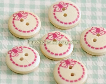 Wooden Buttons, Natural Color - Cute Cute Pink Bows (6 in a set)