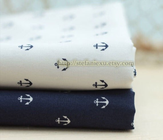 LAST Piece-Nautical Marine, Neat Navy Blue Anchors On Cream White - Japanese Thick Cotton Fabric (17.7x27.5 Inches)