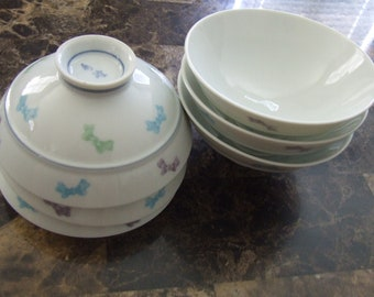 Vintage Cute Bowls With Bows Rice or Dessert Bowls Set of 5