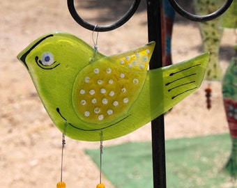 lemon green Bird Windchime, Fused Glass Suncatcher