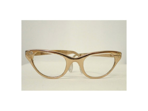 Sale TURA Champagne Golden Cat Eye Eyeglass Frames, Chrome Aluminum Sun or Eyeglasses with Floral Etching
