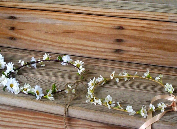 Country Bride Headwreath Daisy Flower crown Wedding bridal Hair wreath accessories Wildflower baby Hairpiece Hippie headband girl halo