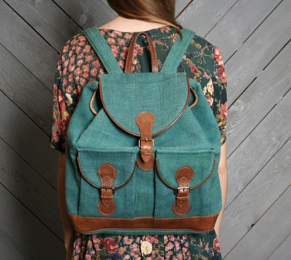 80s OVERSIZED BACKPACK / Wove Teal Green & Caramel Leather