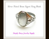 Silver Signet Ring Bases - Adjustable - 2 pieces