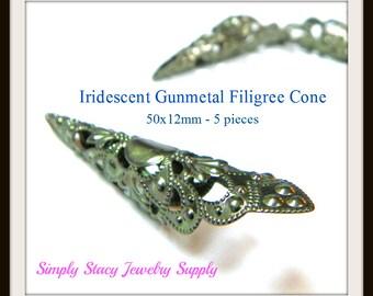 50x12mm Iridescent Gunmetal Filigree Cone - 5 pieces