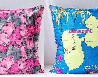 Vintage Scarf Pillow Cover, SILK and GUADELOUPE Decorative Large Handmade Upcycled Home Decor OOAK