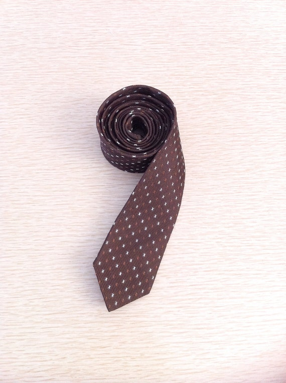 Vintage Skinny Tie 1960s Brown Necktie with Specks