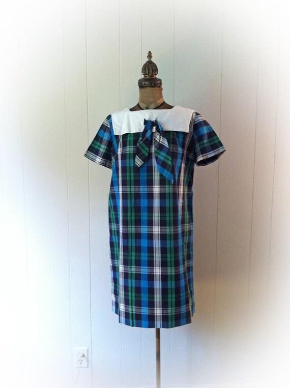 1960s Plaid Maternity Dress