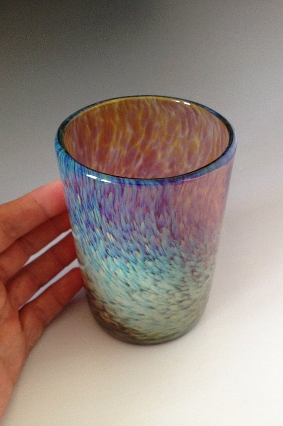 Violet and Golden Tones Blown Drinking Glass