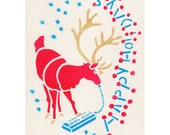 Handmade Holiday Card Melodica Reindeer