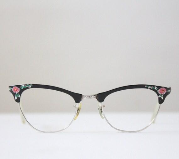 vintage glasses - 1950's floral painted glasses