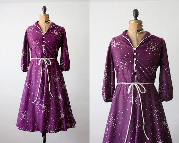 1970s dress - purple constellation dress