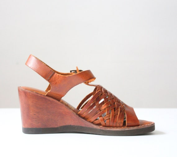 1970's leather wedge sandals  - size 6