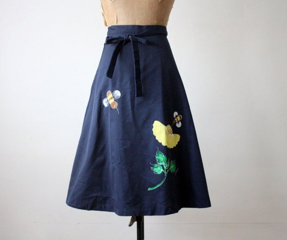 wrap skirt - vintage 1970's birds and the bees skirt