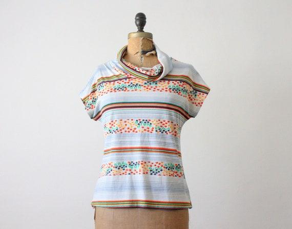 vintage cowl neck  floral blouse
