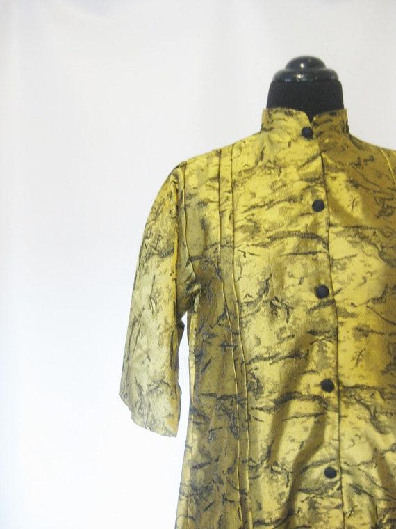 Vintage METALLIC Dress Coat GOLDEN Medium Large 1960s Mid Century Modern Avant Garde 60s Mad Men Fancy