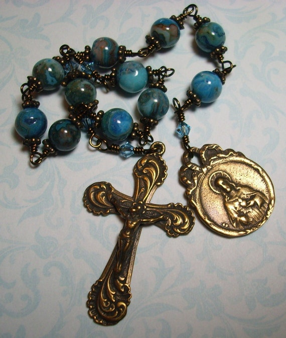 Blue Crazy Lace Pocket Rosary with Scapular Medal
