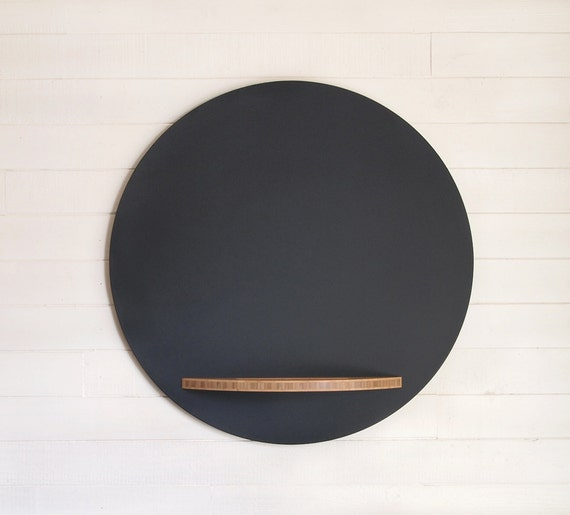 Round Hanging Chalkboard - 26 Inch Diameter, Modern with Bamboo Plywood Tray
