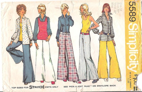 Vintage Simplicity 5589 1970's Shirt-Jacket, Pullover Top and Hip Hugger Wide Leg Pants Sewing Pattern Buts 36
