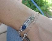 Peace silver bracelet - romantic bohemian unique look - blue PAIX (peace)
