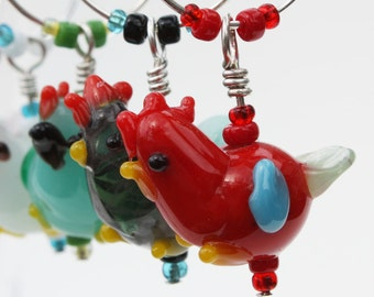 Lampwork Glass Chicken Wine Glass Charms Glass Tags Wine Markers