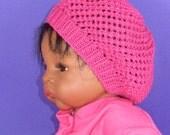 Digital pdf file knitting pattern - Baby Simple Lacey Tam Slouch Hat  pdf download knitting pattern