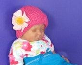 Instant Digital pdf download knitting pattern- Baby Flower Beanie Hat Knitting Pattern