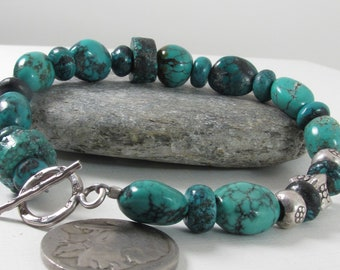 Turquoise and Thai Silver Bracelet Handmade Jewelry Etsy