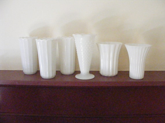 Vintage MILK GLASS VASE Instant Collection of 6 Large Paneled Flared Scalloped - Wedding Decor, Special Event, Lot