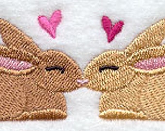 Kissing Bunnies Embroidered Terry Kitchen Towel Bathroom Hand Towel