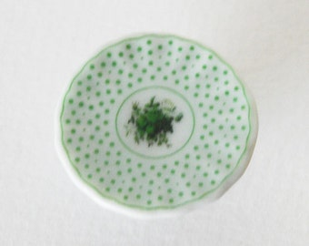 Mini Green Porcelain Cake Plate / Cake Stand - Vintage Design - Handmade Scale Miniature