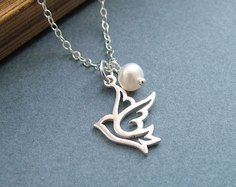 Dove Necklace, Sterling Silver, Freshwater Pearl, Bird Necklace, Peace Dove Necklace