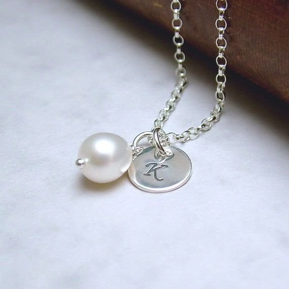 Silver Initial Necklace and Pearl, Personalized Necklace, Sterling Silver, bridesmaid jewelry, mother of the bride