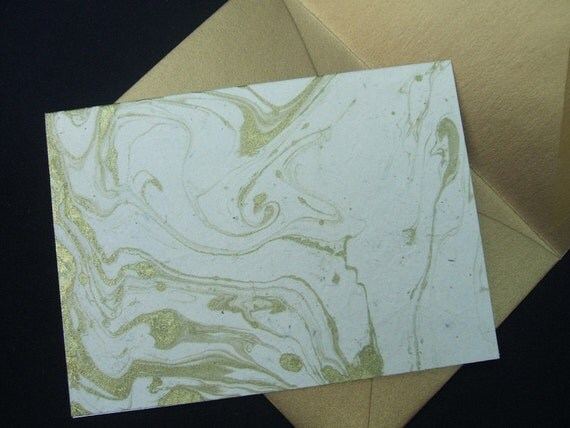 4 Bar Blank Note Cards- Gold Marble - Set of 10