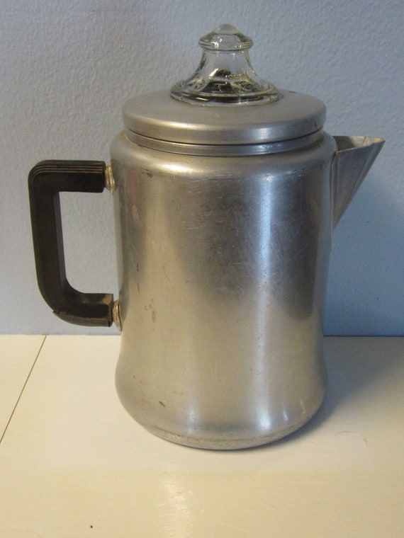 50s Vintage Aluminum Stove Top Coffee Percolator