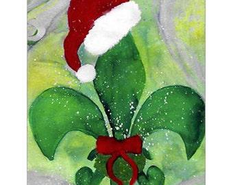 Santa Christmas Fleur de lis Christmas cards set of 20