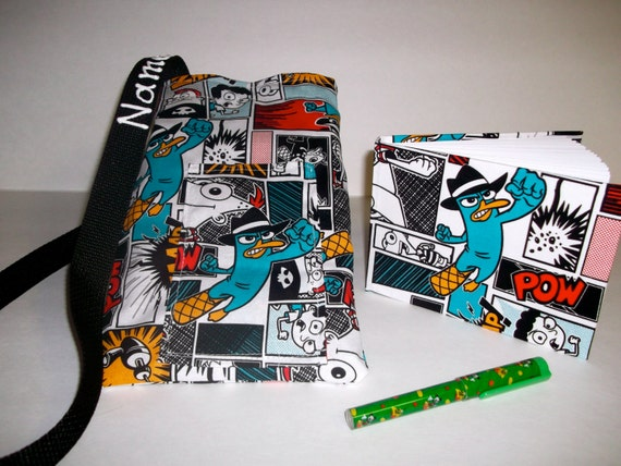 Disney Phineas and Ferb Perry autograph book bag with book, bag and pen PERSONALIZED for FREE adjustable strap