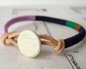 Cooper bracelet - textile, leather, button closure (lavender, midnight, clover, cinnamon), handmade jewelry