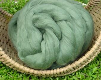Merino Wool Roving, Ivy Green, 4 ounces