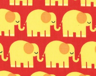 Bungle Jungle by Tim and Beck for Moda, elephants in Red - 1 yard listing