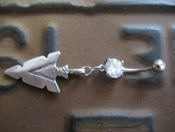 Belly Button Ring Jewelry. Arrowhead- Belly Button Jewelry Ring Tribal Native American Arrow Head Charm Dangle Navel Piercing Belly Button